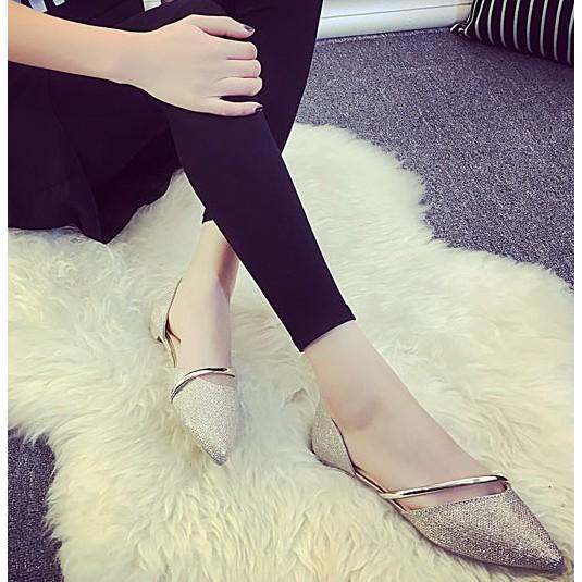 鏤空線條涼鞋✌淺口平底尖頭氣質包鞋2 色36 39