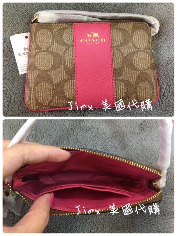 COACH 粉桃色防刮PVC 皮革零錢包手機包手拿包 在台