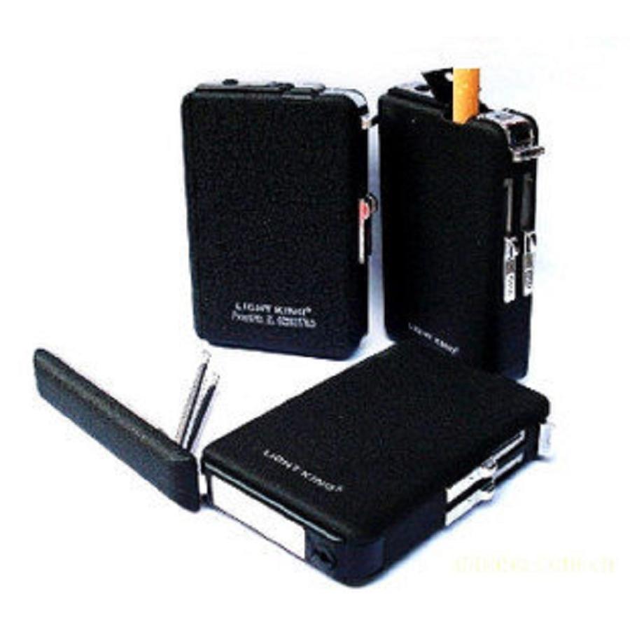 忘記帶打火機的你 良伴黑色 可攜式自動菸盒煙盒10 支裝有防風打火機