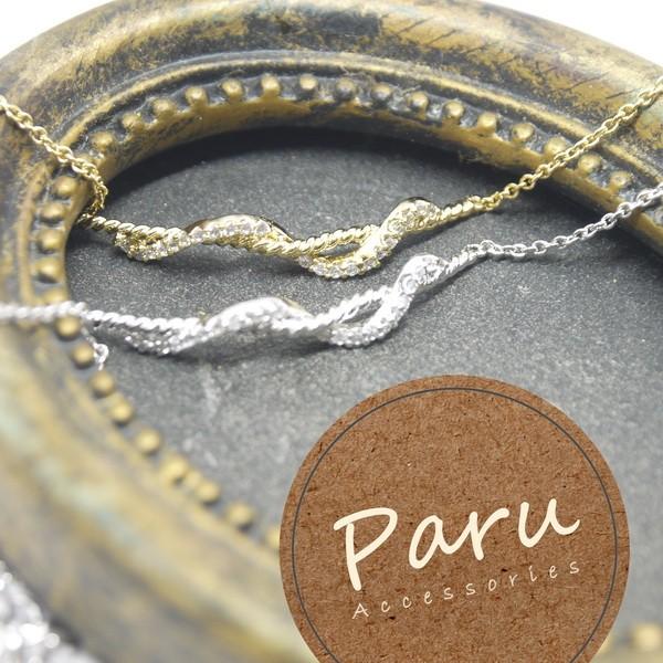 Paru ~金銀s 曲線水鑽簡約低調氣質必取手鏈手鍊手環情人節包裝送禮