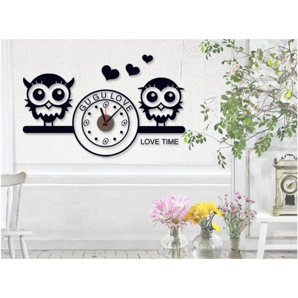 黑白情侶貓頭鷹DIY 壁貼時鐘壁貼牆貼防水牆壁貼客廳佈置兒童房佈置 居家室內牆貼時鐘掛鐘