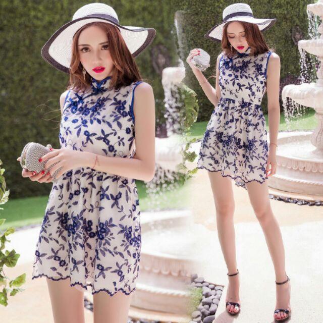 復古改良旗袍中國風刺繡花朵無袖連身裙洋裝S XL ( )