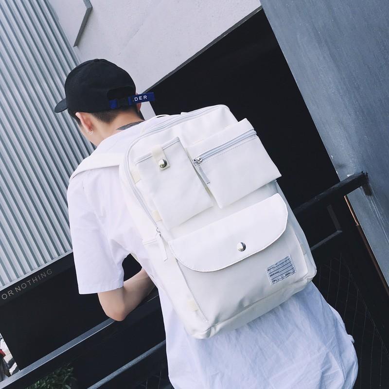 日系多口袋雙肩包男士旅行包雙肩背包學生書包白色後背包