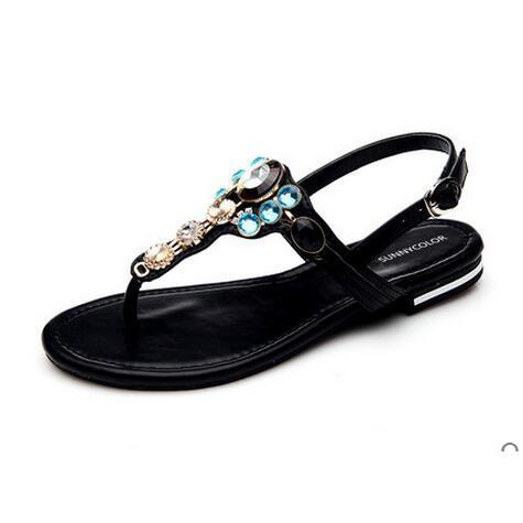 新品 涼鞋女士平底夾腳沙灘鞋防滑平跟 羅馬鞋