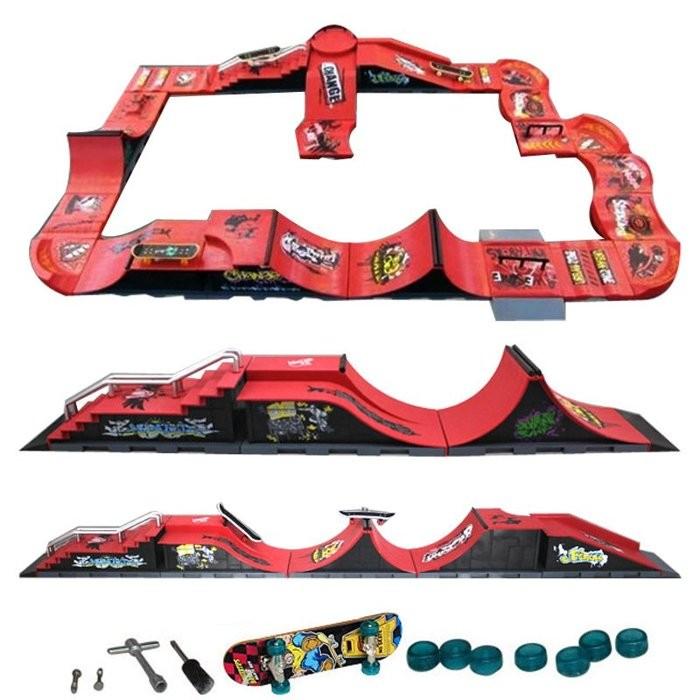 阿痞3C  兒童手指滑板場地道具賽道 套裝送合金滑板備用輪胎螺絲兒童玩具模型滑板車