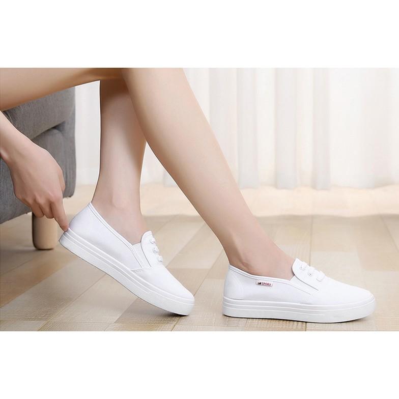 2016 春夏厚底白色一腳蹬懶人鞋老北京布鞋板鞋平跟帆布鞋女休閒小白鞋