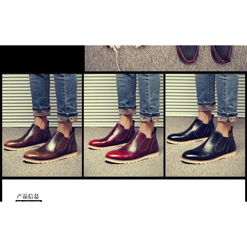 英倫馬丁靴男真皮男靴子復古擦色男士短靴工裝靴