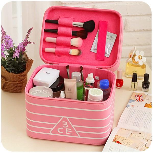 韓國多 大容量化妝包手提大號化妝品箱收納盒小方包