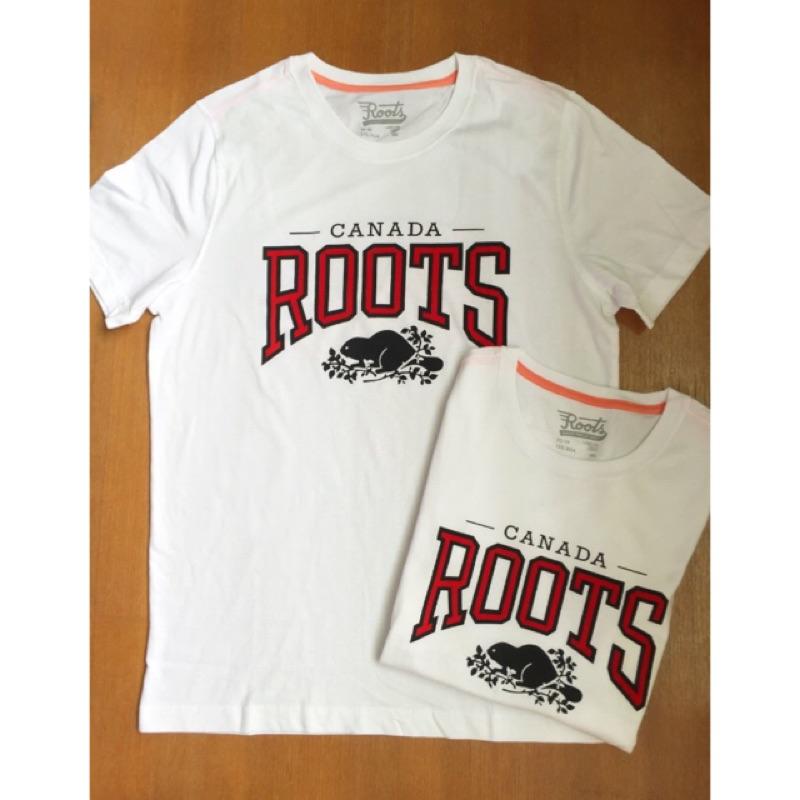 16 情侶✨正品Roots 款 植絨字母海狸柔軟棉質圓領短袖T 恤女款男款情侶白色XS X