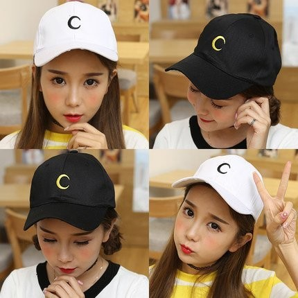 韓國 彎月亮簡約風格刺繡C 字 棉質棒球帽老帽彎帽鴨舌帽子K662