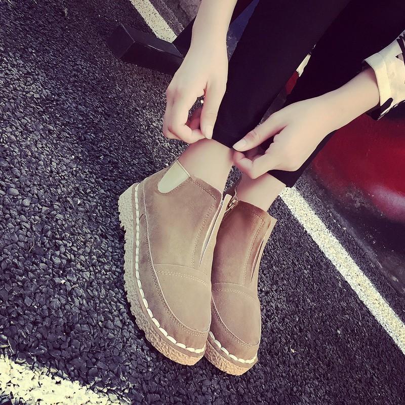 ☞☞☞ギケグ 磨砂皮馬丁靴女春秋女鞋粗跟短靴子復古布洛克圓頭系帶單靴潮