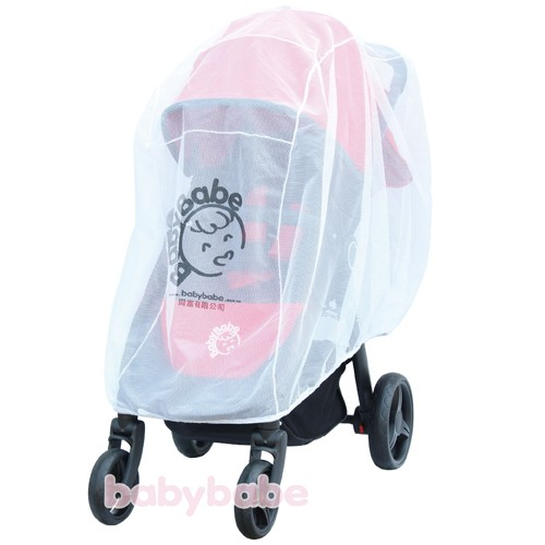 BABYBABE B01515 嬰幼兒手推車雙人推車加大蚊帳XXL 白色
