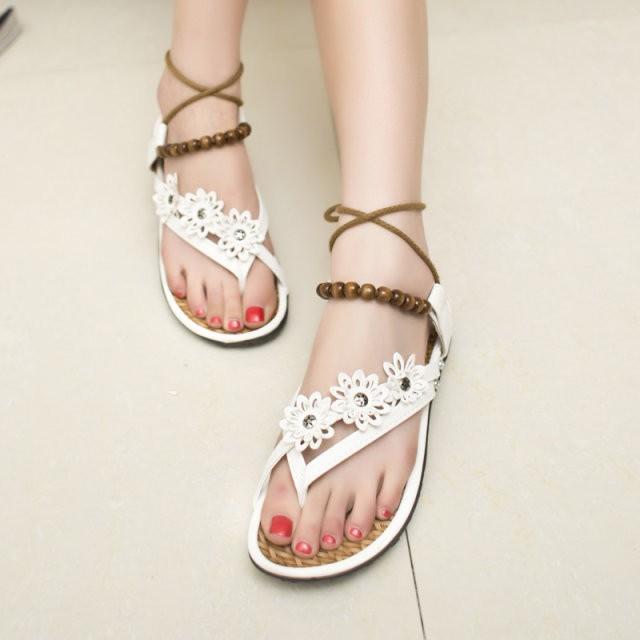 涼鞋女夏平底學生韓夾腳涼鞋平底夾趾羅馬涼鞋綁帶串珠女鞋子