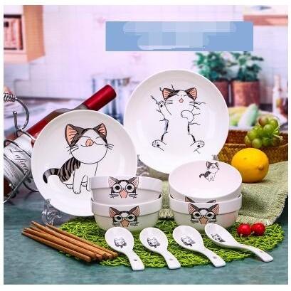 餐具套裝碗碟套裝陶瓷碗盤餐具家用可愛卡通碟碗筷