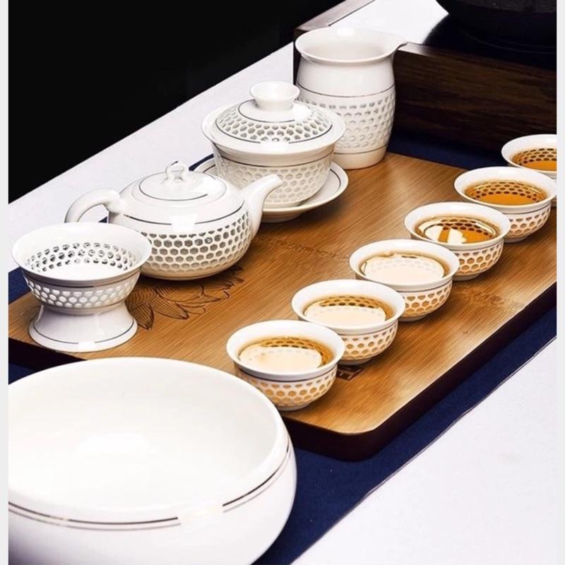 茶具組蜂巢式茶具組金線玲瓏整組12 件