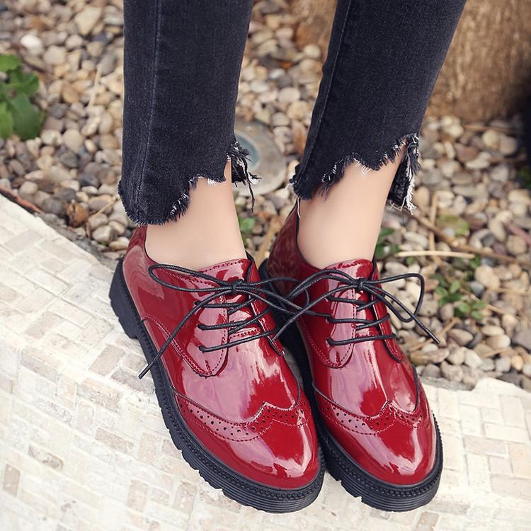 新布洛克女鞋復古厚底英倫風粗跟單鞋系帶圓頭學院牛津小皮鞋