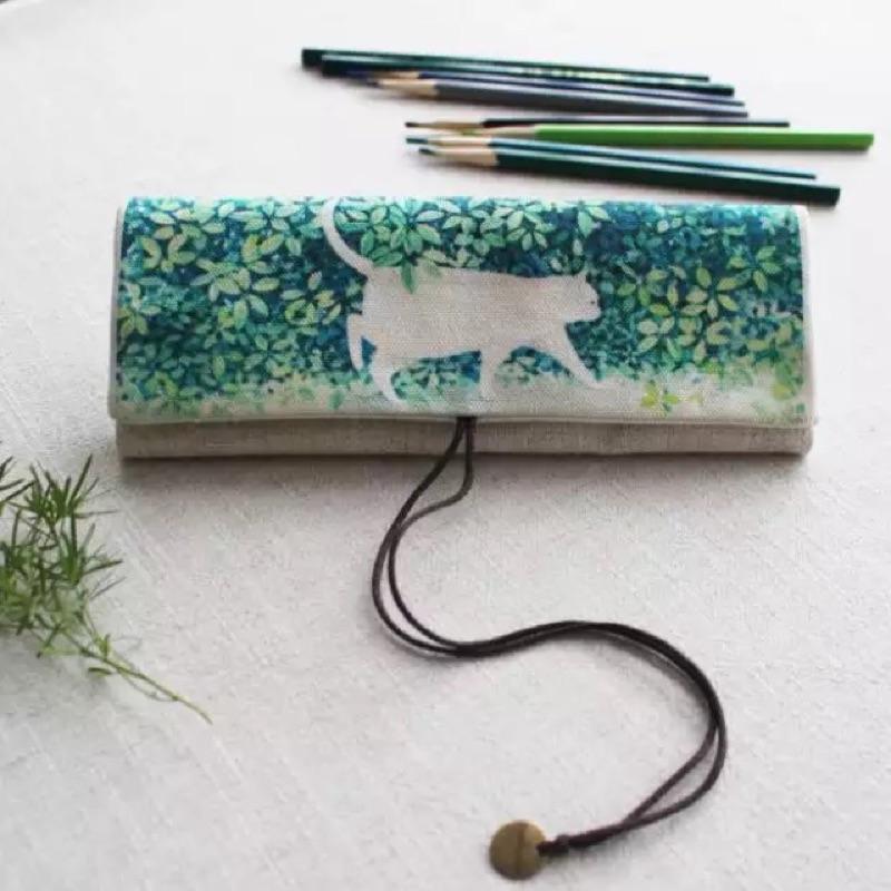森系文藝捲簾式筆袋簡約帆布大容量筆袋日式收納袋