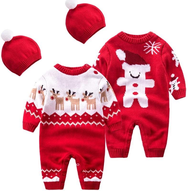 聖誕氣息針織連身衣附帽子小鹿小熊新生兒長袖 男寶女寶雪花針織肩開扣聖誕老人麋鹿