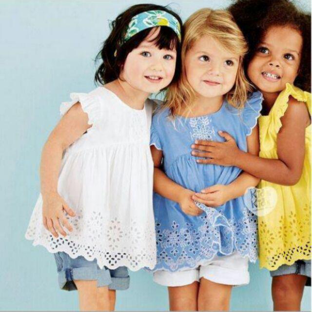 女童寶寶縷空精緻上衣連衣裙白色藍色
