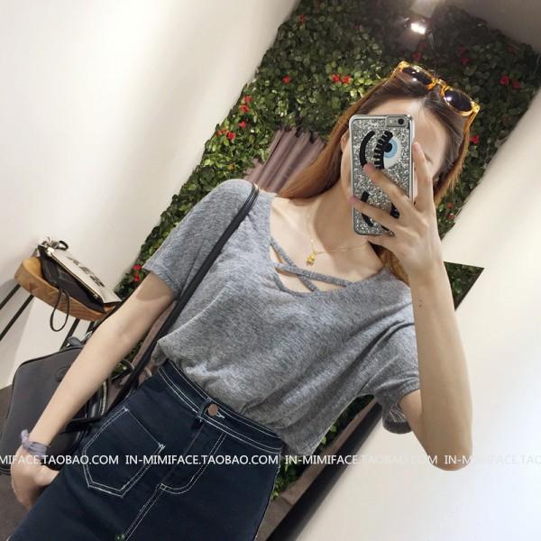 實惠,2017 S537 低V 領交叉線基礎款休閒風短袖T 恤女