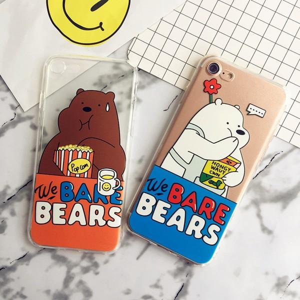 咱們裸熊iPhone7 手機殼吃貨蘋果7plus 卡通保護套全包軟情侶外殼軟