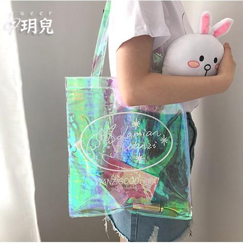 實拍~斜挎包~韓國可愛卡通透明帆布袋文藝學生軟妹手提鐳射單肩包女生包包✨正韓包手提包單肩包