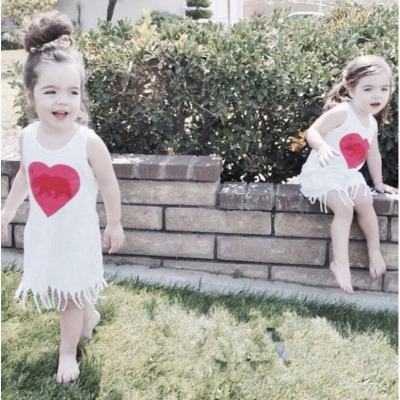 KD23 外銷 款女童女寶寶愛心字母塗鴉流蘇背心裙連身裙無袖背心共二款