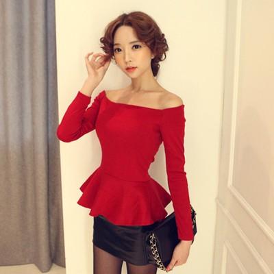 超美韓國 修身蓬蓬下裙擺式一字領露肩T 恤平口上衣女