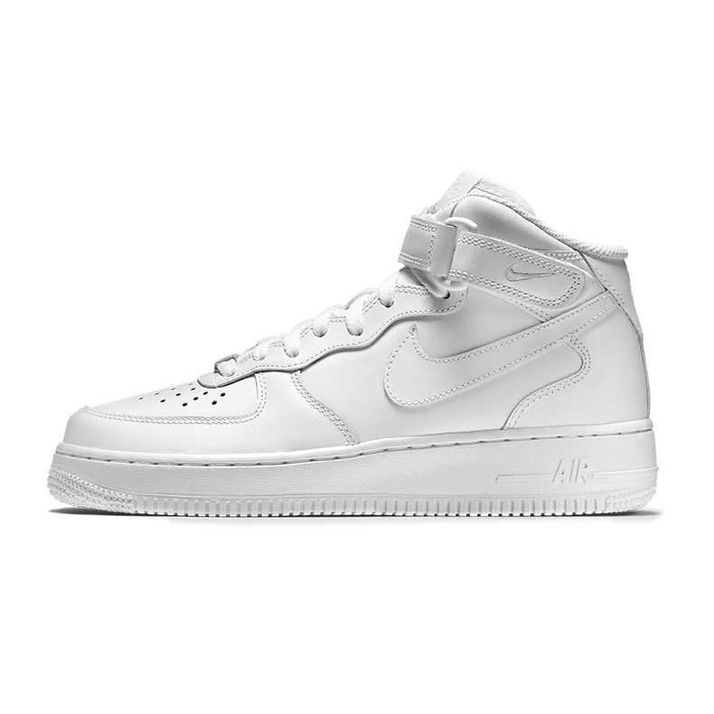 正品Nike AIR FORCE 1 AF1 款全白高統鐵牌滑皮浮水印25 週年