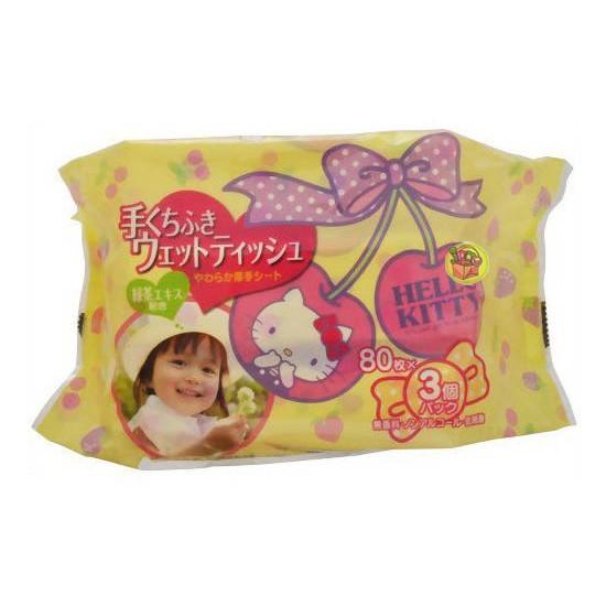 ~JPGO 購~ 製Hello Kitty 凱蒂貓綠茶配和手口 濕紙巾80 枚x3 入