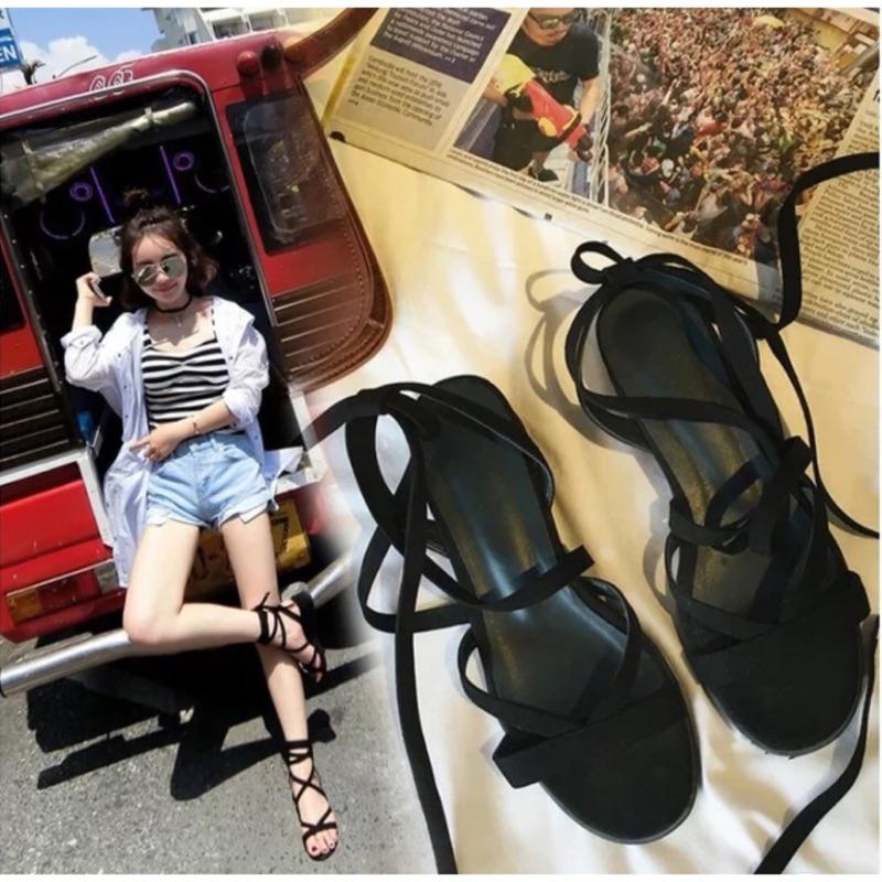 S30 ✨ 黑37 ✨綁帶羅馬鞋小坡跟涼鞋露腳趾