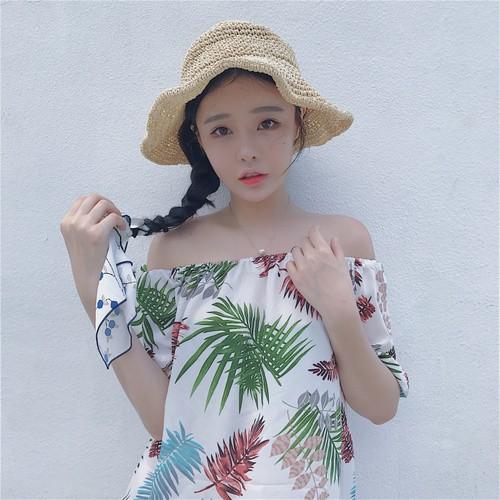 夏日 女裝氣質甜美小清晰度假風一字領百搭印花襯衫女可兩穿