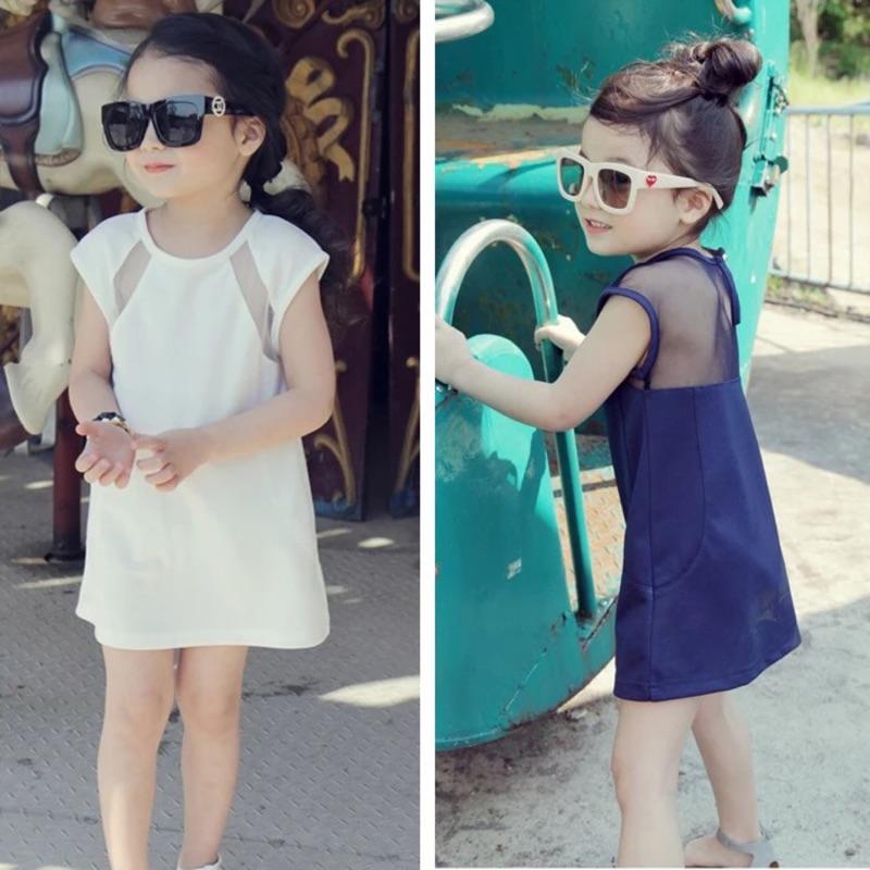 兒童 網紗露背鏤空短袖A 字洋裝連身裙(白藍)