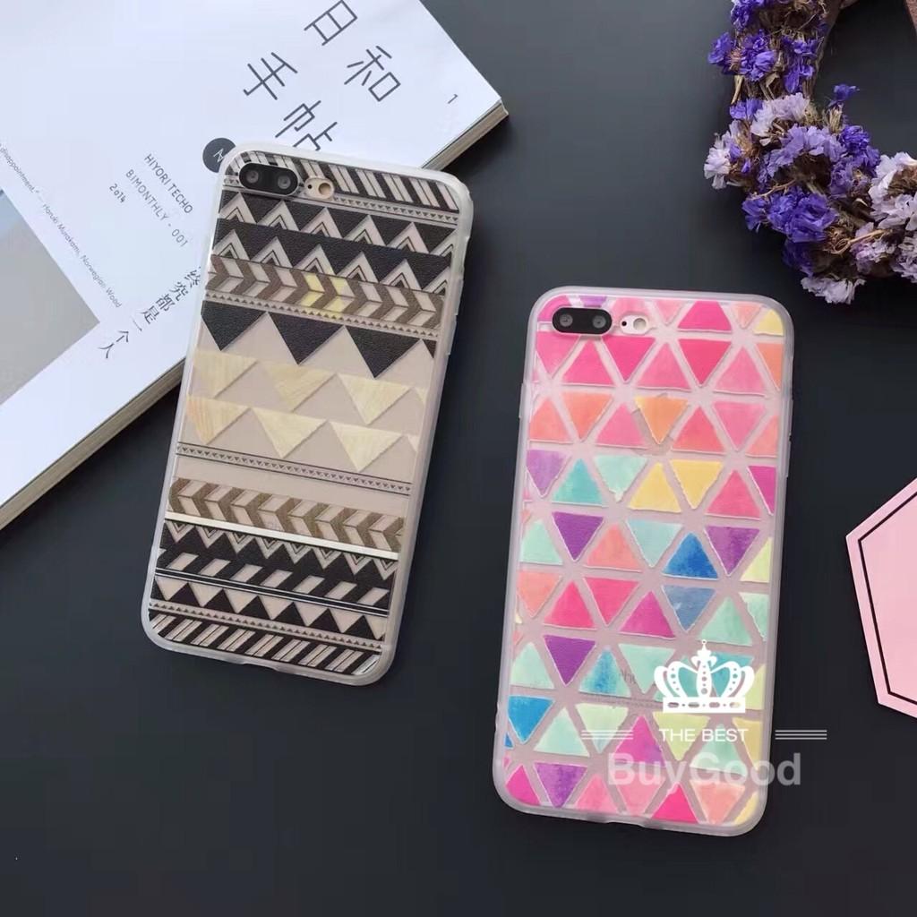 幾何三角彩色圖騰手機殼蠶絲軟殼掛飾孔iPhone 6s 7 plus i6 i5 i7 s