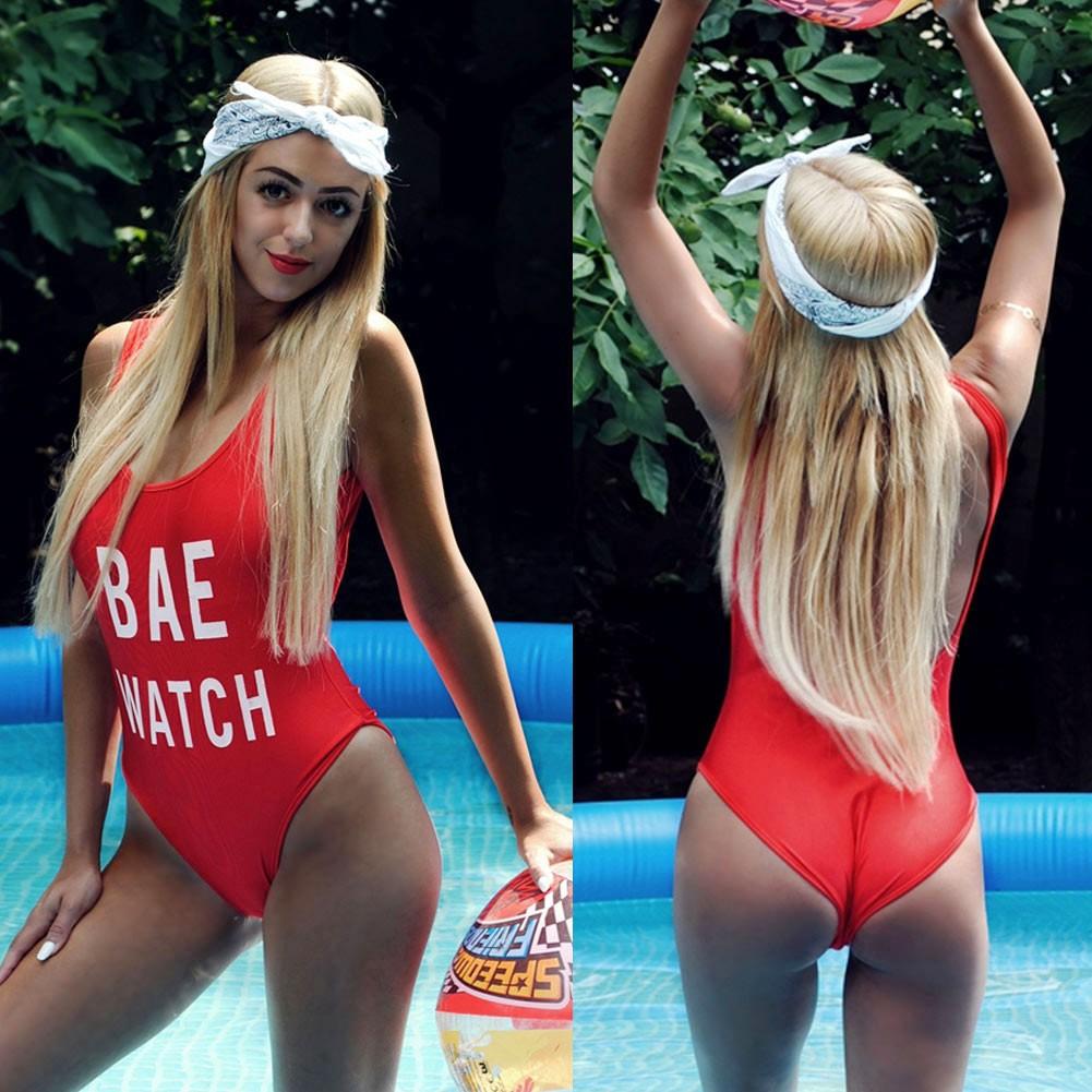 女裝 連體泳衣字母印花圓領無袖性感露背純色比基尼部分裏襯性感連身泳衣BAE WATCH