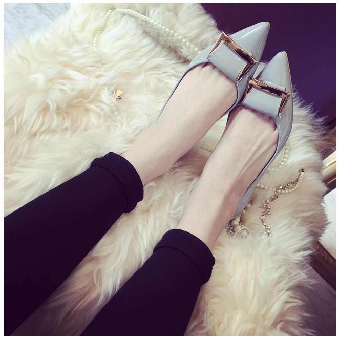 潮鞋2015 年 平底鞋女尖頭淺口金屬百搭漆皮單鞋大碼女鞋船瓢鞋