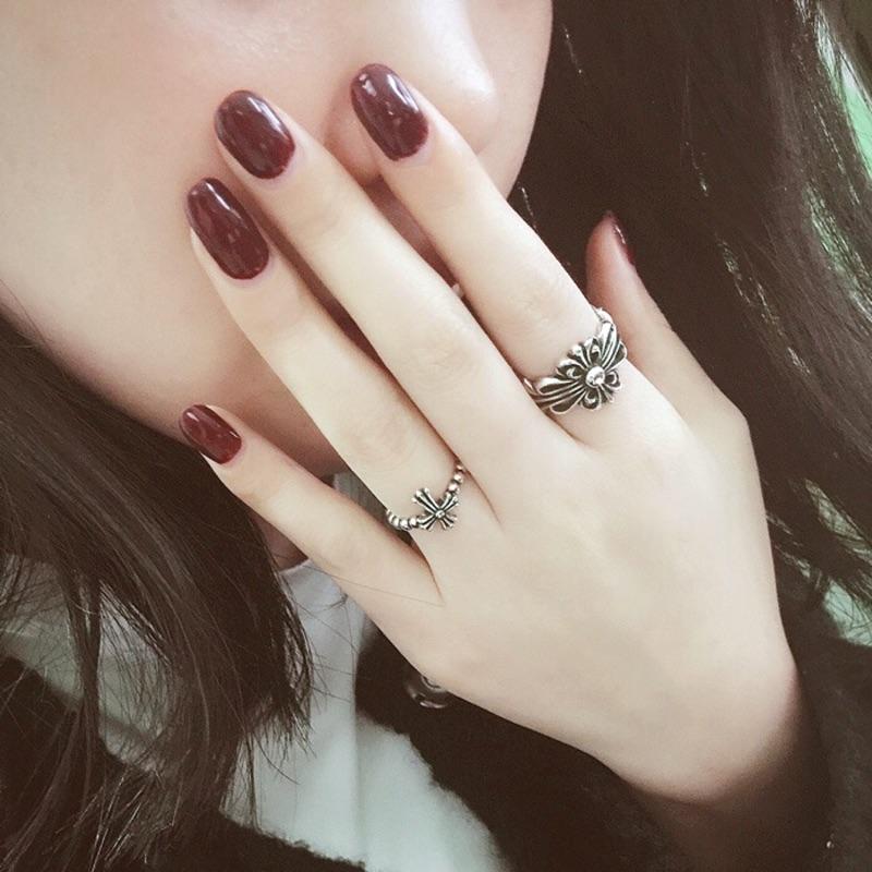佰元飾品925 銀克羅心復古戒指女生指環十字架軍花開口韓國明星同款