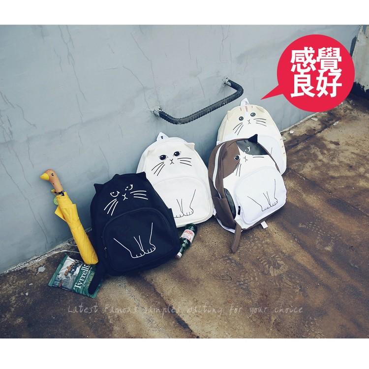 日韓系超萌 可愛小貓咪喵星人卡通 休閒帆布雙肩背包後背包書包旅行包旅行背包