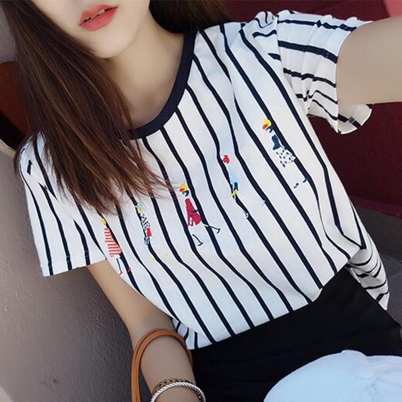 2016  寬松顯瘦簡約條紋短袖T 恤韓國刺繡圓領上衣打底衫女T 恤短袖T 恤七分袖T 恤