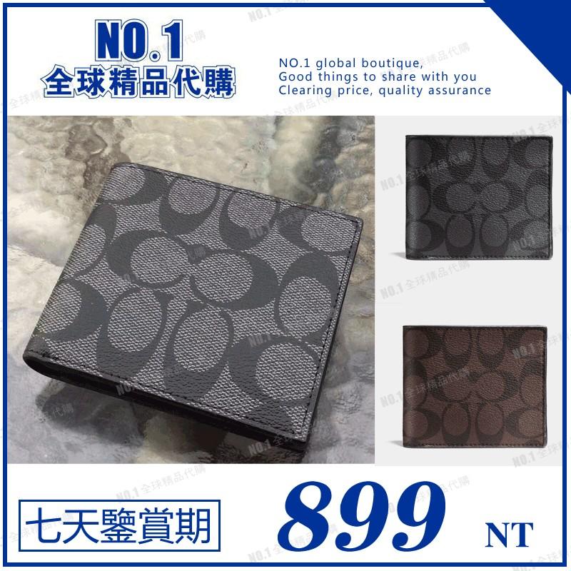 NO 1  COACH 74993 款男士短夾錢包無零錢袋贈卡夾PVC 印花C 字紋