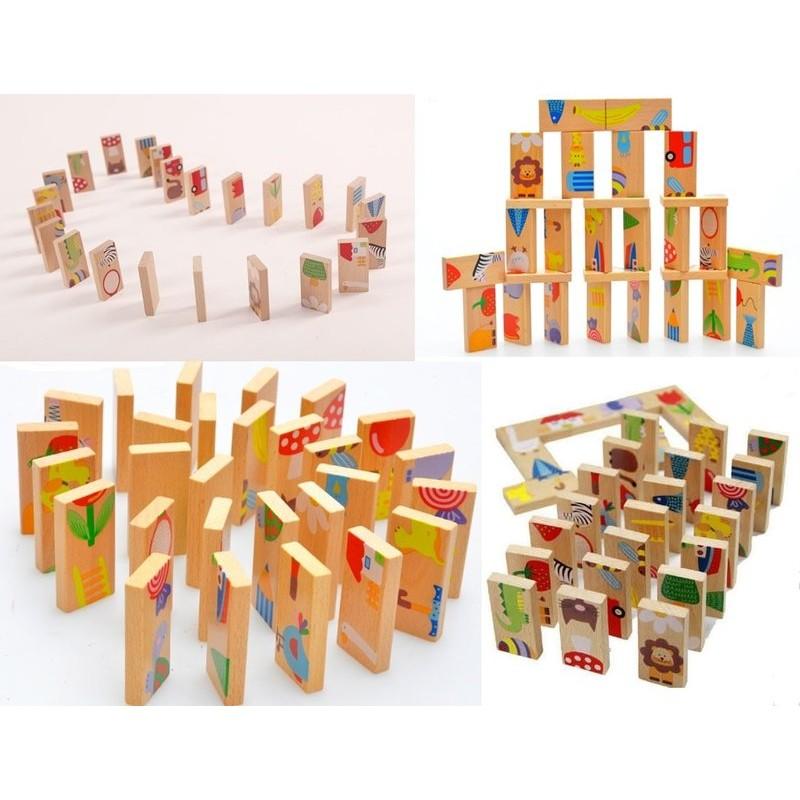 動物多米諾Domino 接龍28 塊拼接積木拼圖骨牌