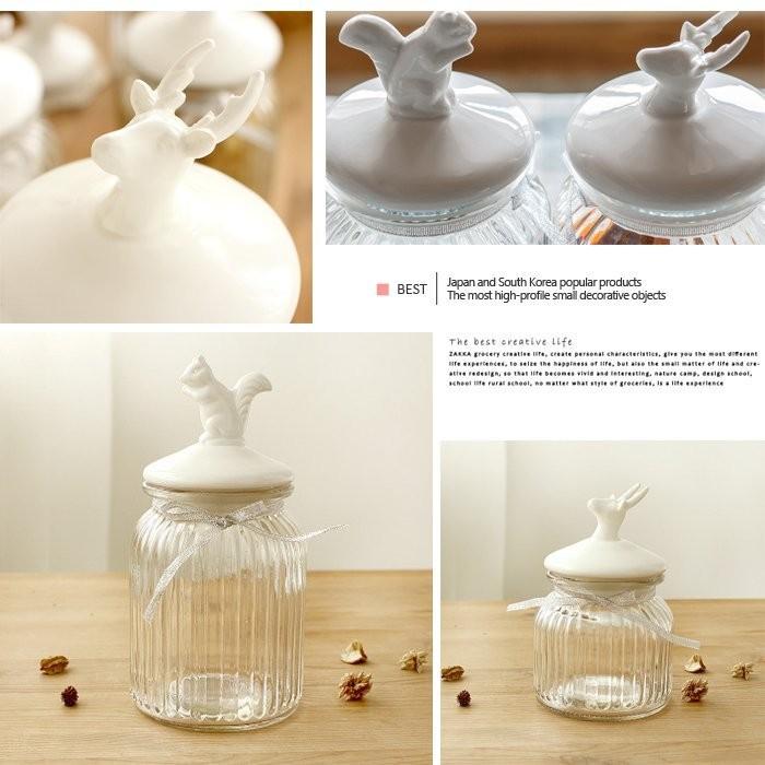 WQ 53 香料罐儲物罐餐廳裝潢陶瓷玻璃密封罐糖果罐收納罐茶葉罐收纳盒咖啡罐收納松鼠馴鹿