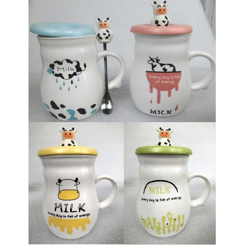 卡通乳牛陶瓷杯杯蓋湯匙馬克杯兒童牛奶杯麥片咖啡杯情侶 杯子