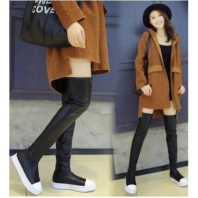 即將漲價啦~過膝長靴女靴子高筒靴瘦腿彈力靴 靴皮面平底長筒內增高過膝靴