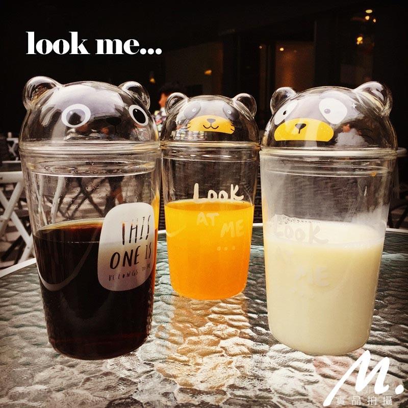 M 雜貨韓國ulzzang 動物表情玻璃 水杯學生杯小熊杯ikea 日韓雜貨居家冷水壺東大