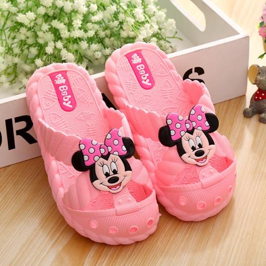 迪士尼米老鼠米奇米妮卡通軟底兒童涼拖鞋 沙灘洞洞鞋浴室防滑寶寶拖鞋學步鞋