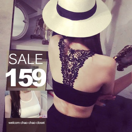 SISI ~U5012 ~完美曲線蕾絲鏤空雕花網紗拼接透視短版背心半截小可愛上衣內衣BRA