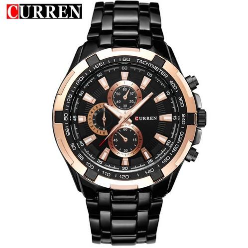 Curren 男士黑色不銹鋼錶帶手錶8023