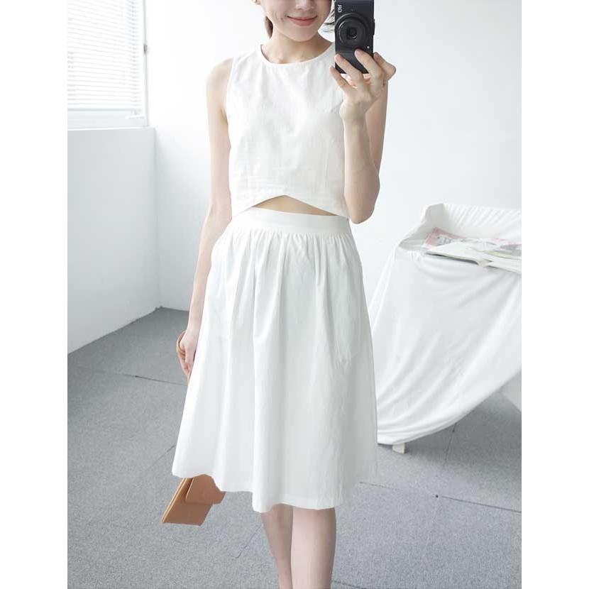 ~VIVI SHOP ~ 韓系KOREA 素色後拉鍊棉麻短背心鬆緊中裙套裝