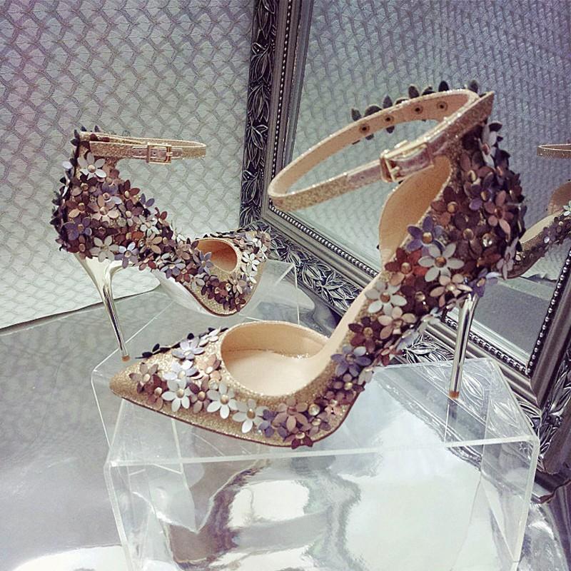 超美仙女鞋!正韓百搭尖頭高跟鞋細跟水鑽亮片花朵涼鞋一字扣潮鞋單鞋